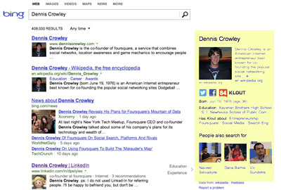 Bing social results example - Dennis Crowley.