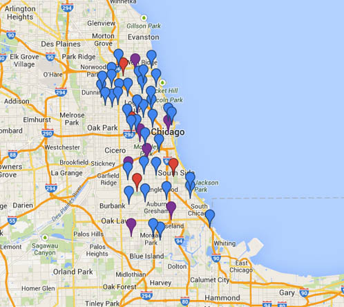 Map of Chicago speed camera locations