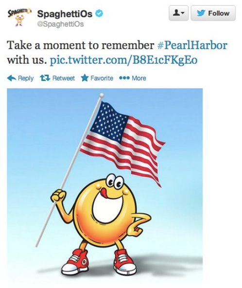 Uhoh, SpaghettiOs Tweet offends on Pearl Harbor day