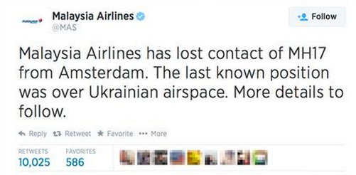 Malaysian Airlines Tweet